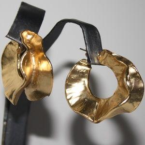 Stunning LARGE gold vintage hoop earrings